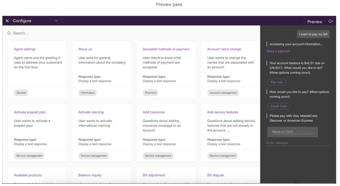 IBM Watson Conversation Preview Pane